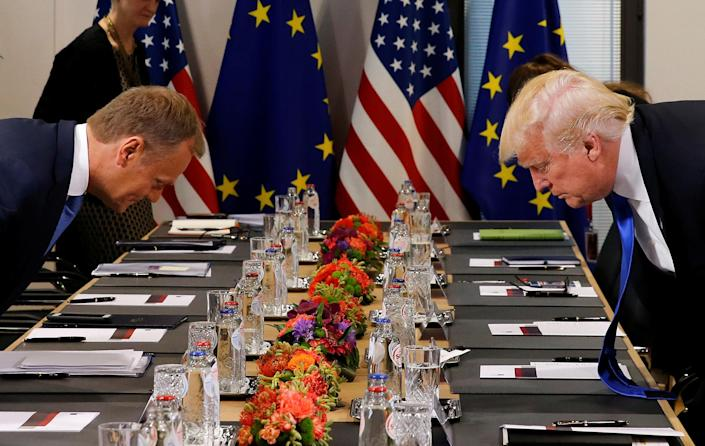 <p>President Donald Trump (R) and the President of the European Council Donald Tusk take their seats before their meeting at the European Union headquarters in Brussels, Belgium, May 25, 2017. (Photo: Jonathan Ernst/Reuters) </p>