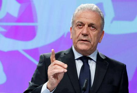 European Commissioner for Migration and Home Affairs Dimitris Avramopoulos addresses a news conference at the EU Commission headquarters in Brussels