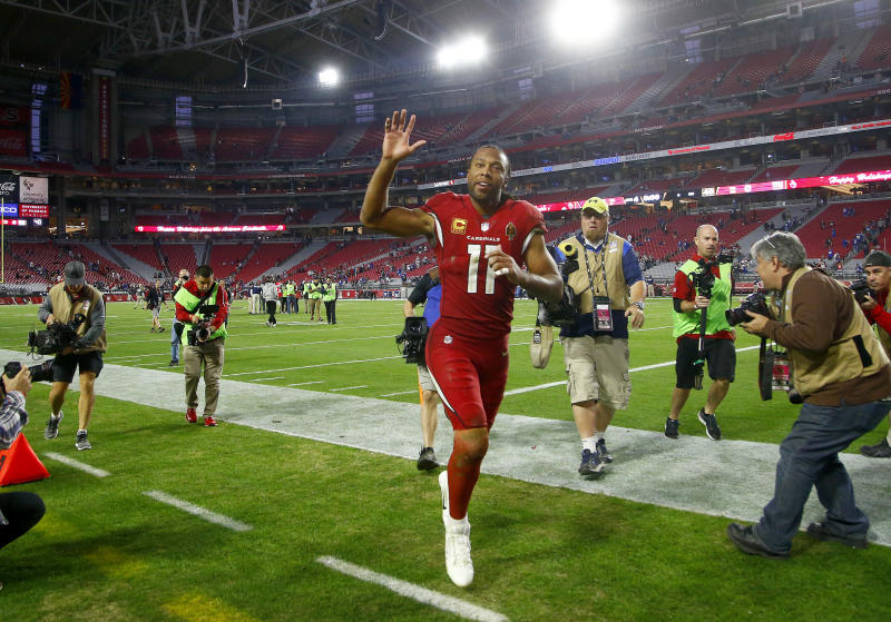 Arizona Cardinals wide receiver Larry Fitzgerald (11) will return for another season, the team said. (AP)