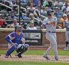 Los Angeles Dodgers' Joc Pederson, right, watches his home run during the seventh inning of a baseball game against the New York Mets at Citi Field, Sunday, June 24, 2018, in New York. (AP Photo/Seth Wenig)
