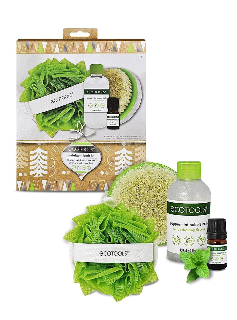 <p>Treat yourself to the full package of peppermint goodness with the <span>EcoTools Indulgent Bath Gift Kit</span> ($15). It comes with a peppermint bubble bath, dry body brush, loofah bath sponge, and peppermint essential oil.</p>
