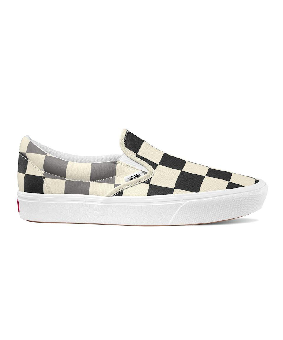 """<p><strong>Vans</strong></p><p>toddsnyder.com</p><p><strong>$49.00</strong></p><p><a href=""""https://go.redirectingat.com?id=74968X1596630&url=https%3A%2F%2Fwww.toddsnyder.com%2Fcollections%2Fsale%2Fproducts%2Fvans-comfycush-slip-on-half-big-checker-white-1%3Fcjevent%3D1a69f2889c3e11ea81de00ae0a24060d&sref=https%3A%2F%2Fwww.esquire.com%2Fstyle%2Fmens-fashion%2Fg32643327%2Ftodd-snyder-memorial-day-sale%2F"""" rel=""""nofollow noopener"""" target=""""_blank"""" data-ylk=""""slk:Buy"""" class=""""link rapid-noclick-resp"""">Buy</a></p><p>Snyder also stocks a curated selection of the best of what other brands have to offer, including these summer-ready slip-ons courtesy of the sneaker savants at Vans.</p>"""