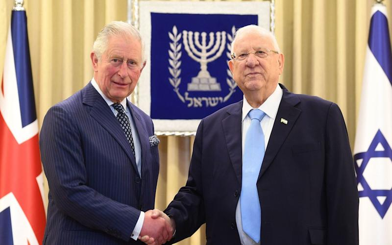 The Prince of Wales meets President Reuven Rivlin at his official residence in Jerusalem on the first day of his visit to Israel and the occupied Palestinian territories - PA