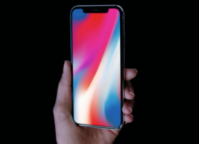 <p>The iPhone X (named for Apple's 10th anniversary) has a full screen on the front, save for a notch at the top. (Select All) </p>