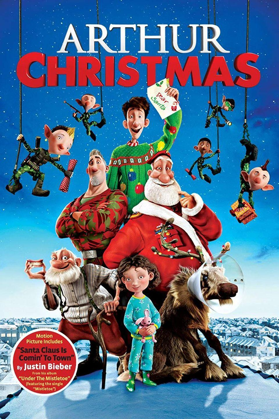 """<p>Santa does the unthinkable and forgets to deliver a gift to a child on Christmas Eve — and his youngest son, Arthur, must make the delivery before dawn. Pixar-level animation and wry British humor from the <em>Wallace & Gromit</em> team make this a heartwarming flick for the whole family.</p><p><a class=""""link rapid-noclick-resp"""" href=""""https://www.amazon.com/Arthur-Christmas-James-McAvoy/dp/B009SQQRH2/?tag=syn-yahoo-20&ascsubtag=%5Bartid%7C10055.g.1315%5Bsrc%7Cyahoo-us"""" rel=""""nofollow noopener"""" target=""""_blank"""" data-ylk=""""slk:WATCH NOW"""">WATCH NOW</a></p>"""