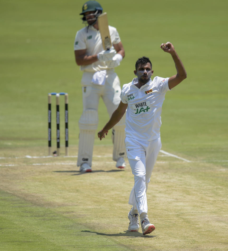 Sri Lanka's Dasun Shanaka apeals for a wicket, on day two of the first cricket test match between South Africa and Sri Lanka at Super Sport Park Stadium in Pretoria, South Africa, Sunday, Dec. 27, 2020. (AP Photo/Catherine Kotze)