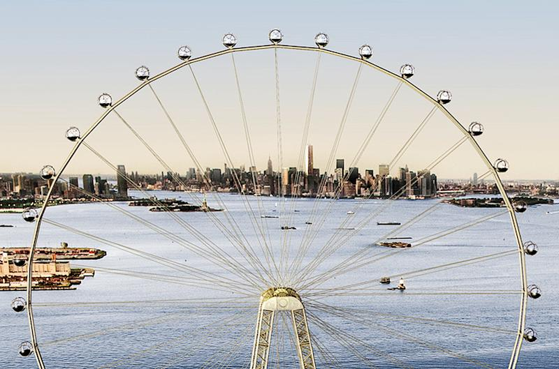 "In this image released by the New York Mayor's Office, Thursday, Sept. 27, 2012 is an artist's rendering of a proposed 625-foot Ferris wheel, billed as the world's largest, planned as part of a retail and hotel complex along the Staten Island waterfront in New York. The attraction, called the New York Wheel, will cost $230 million. Officials say the observation wheel will be higher than the Singapore Flyer, the London Eye, and a ""High Roller"" wheel planned in Las Vegas. Beyond the wheel is the Manhattan skyline. (AP Photo/Office of the Mayor of New York)"
