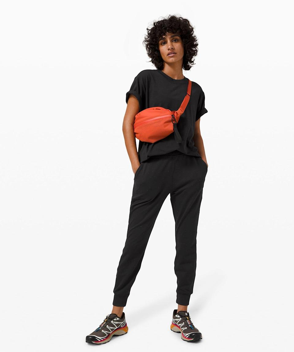 <p>Stay cozy in this <span>Lululemon LA Warm Down High-Rise Jogger</span> ($108) and <span>All Yours Tee</span> ($58).</p>