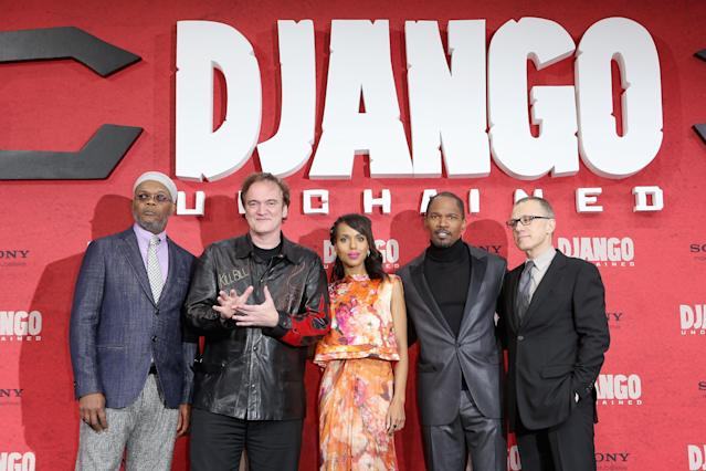 BERLIN, GERMANY - JANUARY 08: Samuel L. Jackson, Quentin Tarantino, Kerry Washington, Jamie Foxx and Christoph Waltz attend 'Django Unchained' Berlin Premiere at Cinestar Potsdamer Platz on January 8, 2013 in Berlin, Germany. (Photo by Sean Gallup/Getty Images for Sony Pictures)