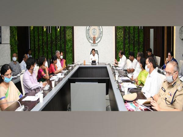 Andhra Pradesh Chief Minister YS Jagan Mohan Reddy with officials during a meeting on Tuesday.