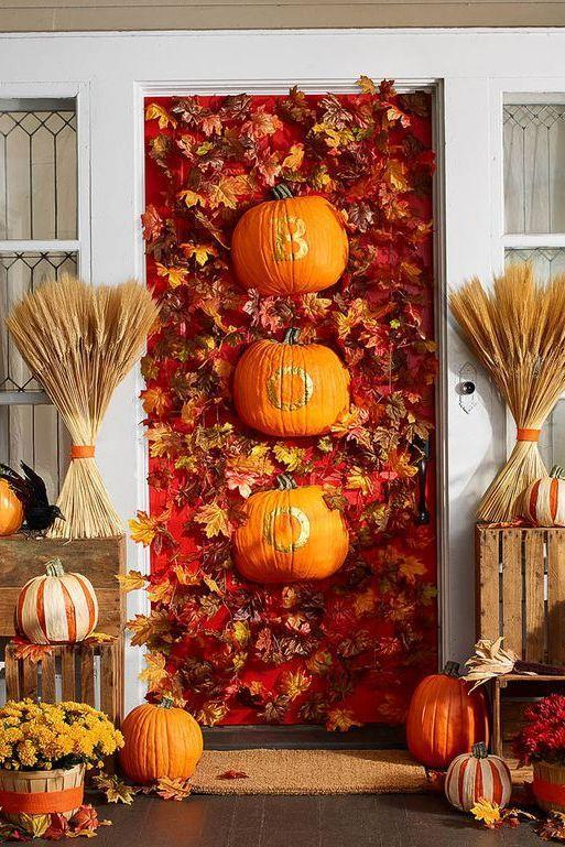 "<p>Fun-Kins, which are artificial, carvable pumpkins, dress up this leaf-covered door with other fall accents. </p><p><strong>Make the Boo Door:</strong> Use a utility knife to halve two Fun-Kins lengthwise. Print and cut out stencils for the word BOO. Trace each letter onto a halved Fun-Kin with a pencil. Use small paintbrush to apply gold enamel paint inside lines; let dry. Hang on door with Command wire hooks.</p><p><a class=""link rapid-noclick-resp"" href=""https://funkins.com/"" rel=""nofollow noopener"" target=""_blank"" data-ylk=""slk:SHOP FUN-KINS""><strong>SHOP FUN-KINS</strong></a></p>"