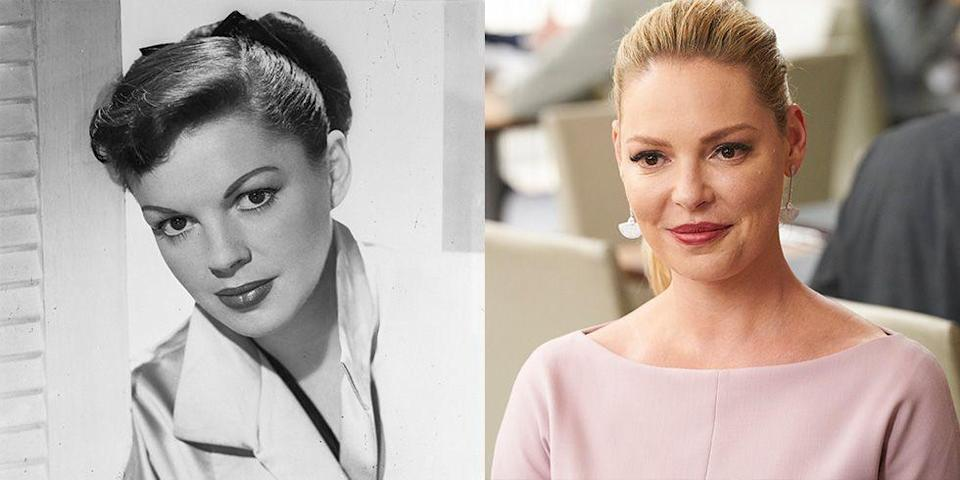 <p>Despite their different hair colors, everything from Katherine Heigl's round face and dark eyes to her button nose are shared by Judy Garland.<br></p>