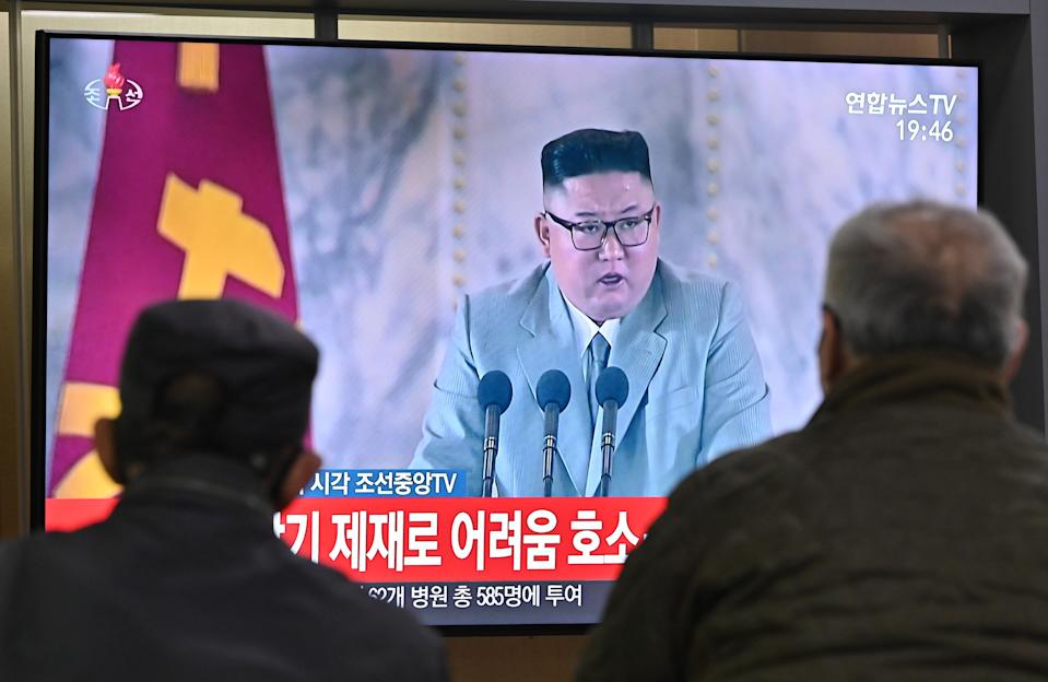 FILE PHOTO: People watch a television news broadcast of a speech by North Korea's leader Kim Jong Un during commemorations of the 75th anniversary of the North's ruling Workers' Party held in Pyongyang, at a railway station in Seoul on October 10, 2020. (Photo: JUNG YEON-JE/AFP via Getty Images)