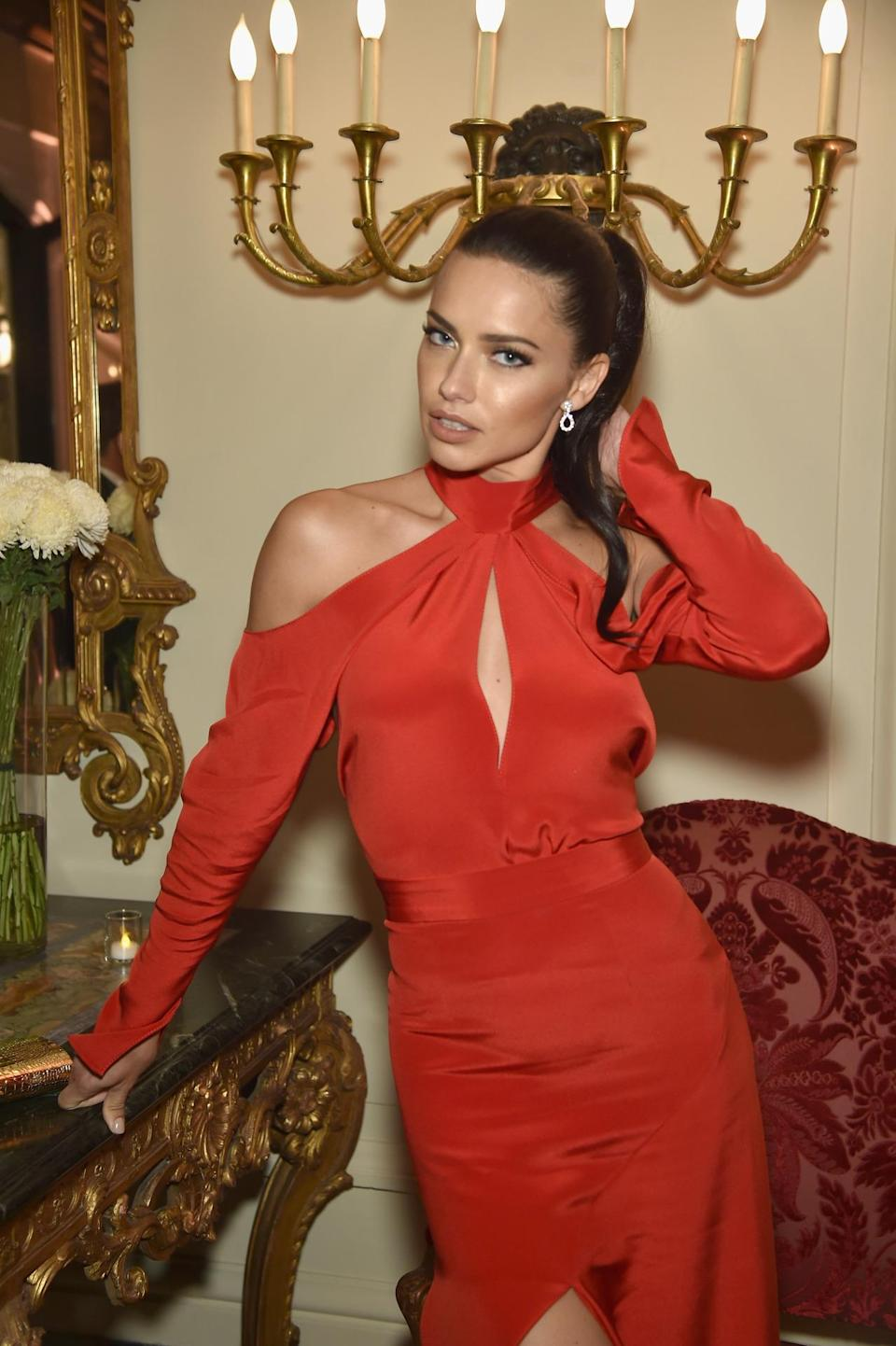 <p>Model Adriana Lima attends the Bloomberg & Vanity Fair cocktail reception following the White House Correspondents' Dinner, April 30. <i>(Photo: Dimitrios Kambouris/VF16/WireImage)</i></p>