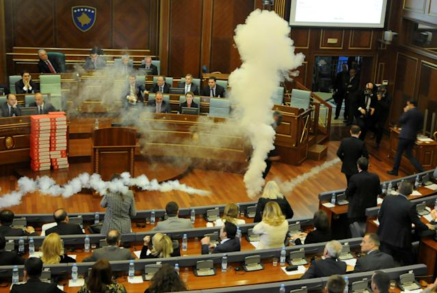 Kosovo opposition politicians release tear gas in parliament to obstruct a session in Pristina, Kosovo March 21, 2018. REUTERS/Laura Hasani TPX IMAGES OF THE DAY