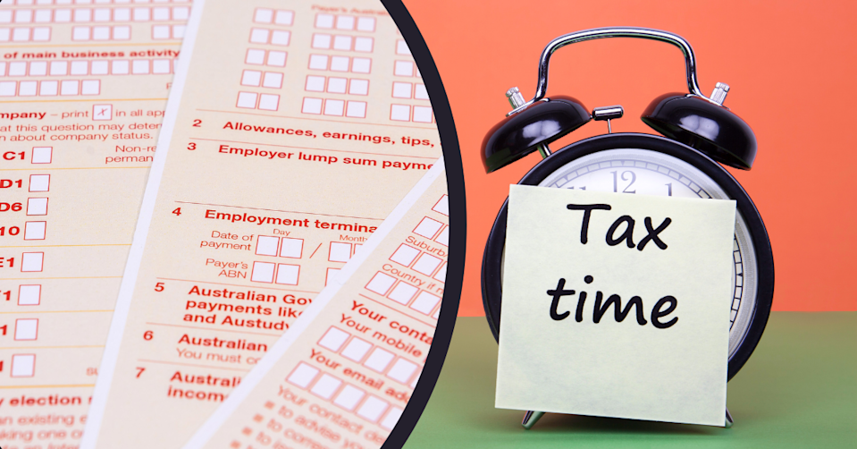 Australian taxation lodgement forms and an alarm clock with a post it note reading 'tax time'.