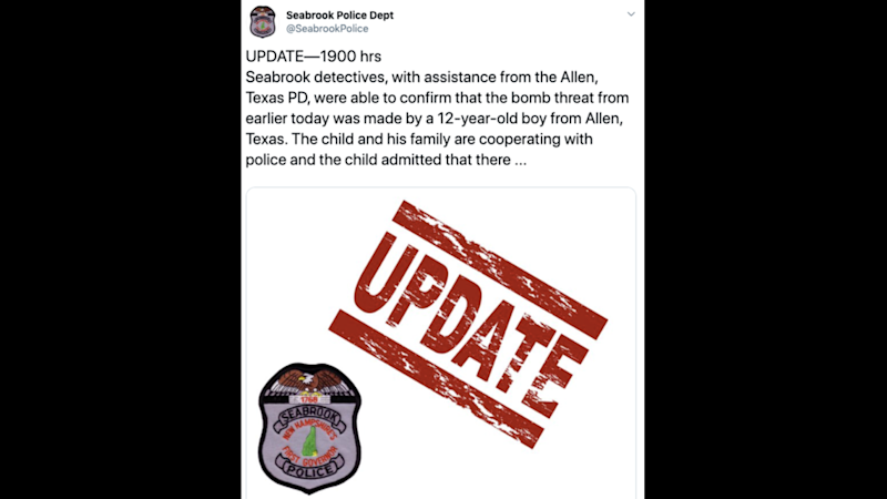 A 12-year-old Texas boy used an app to call in bomb threat in New Hampshire, cops say