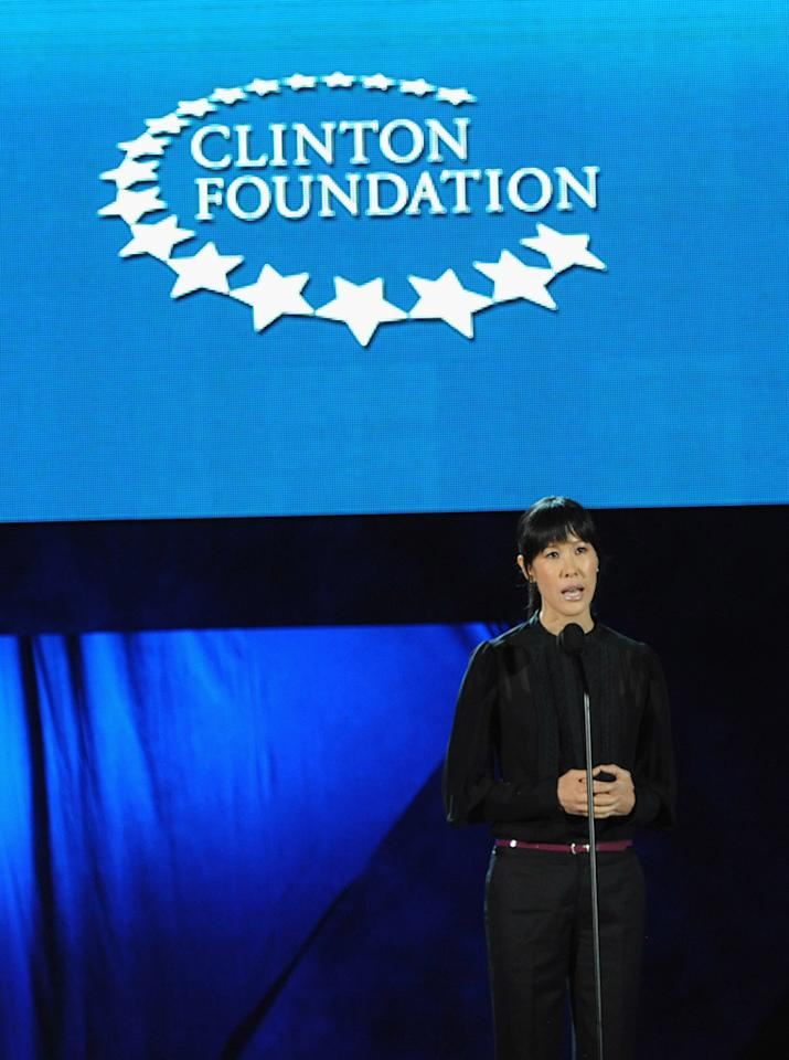 Laura Ling speaks at A Decade of Difference: A Concert Celebrating 10 Years of the William J. Clinton Foundation on October 15, 2011, at the Hollywood Bowl, Los Angeles. <br><br>(Photo by Handout/Getty Images for Control Room)