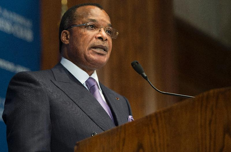 President of the Republic of Congo Denis Sassou-Nguesso speaks in Washington, DC, on August 1, 2014