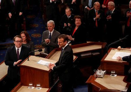 French President Emmanuel Macron arrives to address a joint meeting of the U.S. Congress in the House chamber of the U.S. Capitol in Washington, U.S., April 25, 2018. REUTERS/Jonathan Ernst