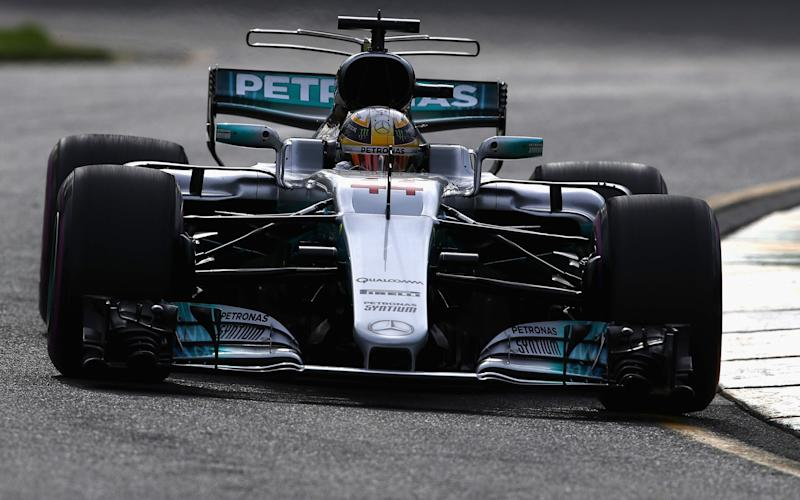 Lewis Hamilton of Great Britain driving the (44) Mercedes AMG Petronas F1 Team Mercedes F1 WO8  - Credit: Clive Mason/Getty Images