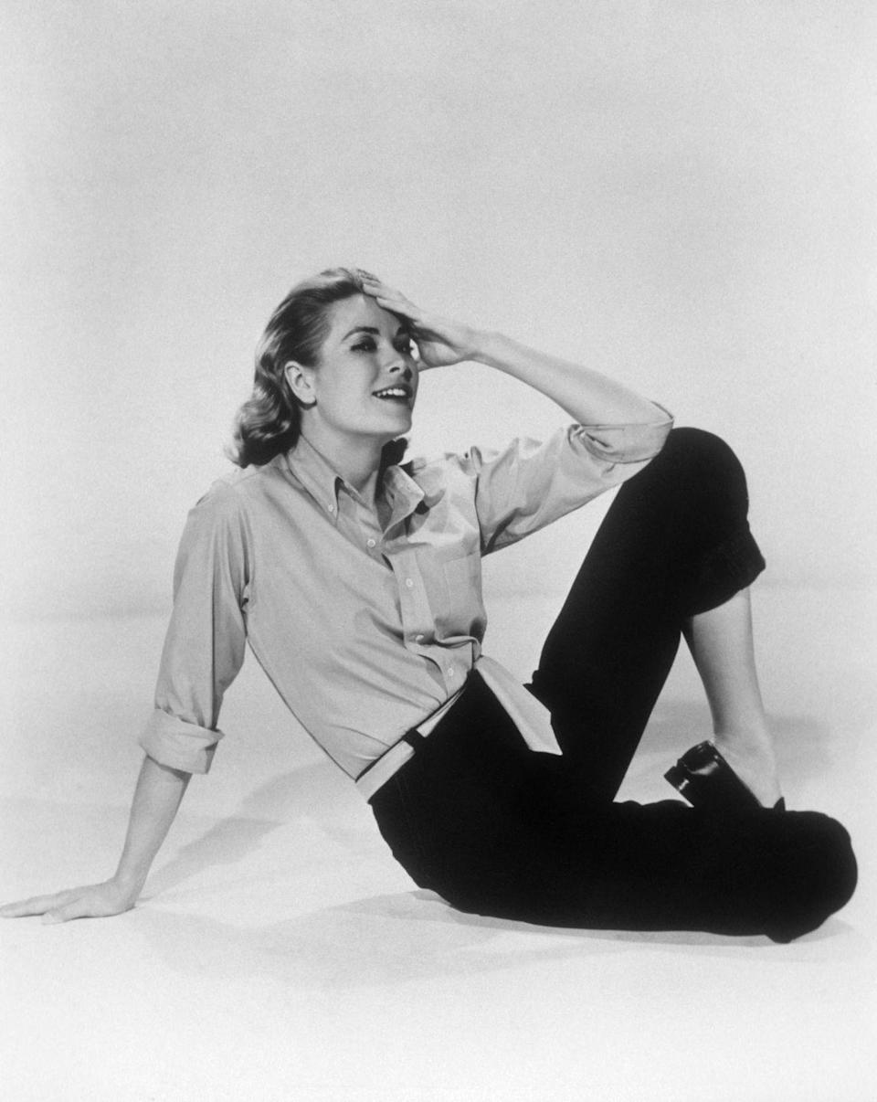 <p>There's nothing more chic than well-worn jeans and a button down. As proof, we give you Grace Kelly wearing cigarette jeans and a salmon-colored button-down shirt in a scene from <em>Rear Window</em>.  </p>