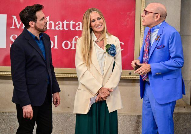 Mario Cantone, Sarah Jessica Parker and Willie Garson on the set of