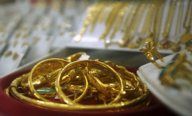 Gold products are displayed for sale at a shop in Hanoi