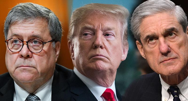 From left, William Barr, Donald Trump and Robert Mueller