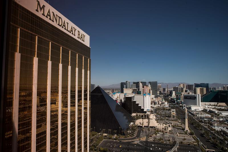 A view of the Mandalay Bay Resort and Casino, overlooking the Las Vegas Strip after a mass shooting at a music concert October 3, 2017 in Las Vegas, Nevada.
