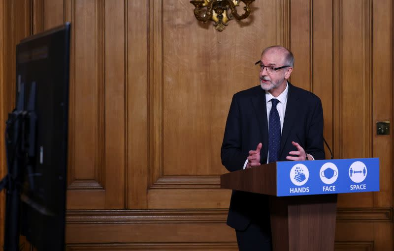 FILE PHOTO: News conference about the ongoing situation with the coronavirus disease (COVID-19), in London