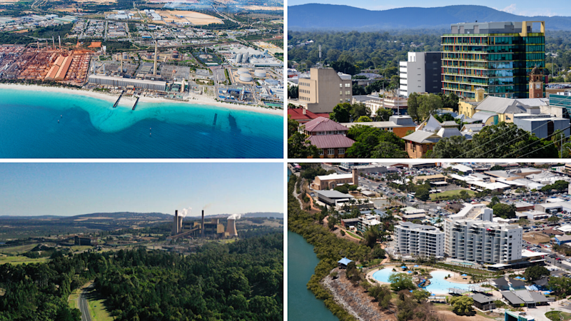 Clockwise: Kwinana, Perth; Ipswich City, Queensland; Mackay, Queensland; and Latrobe Valley, Victoria. (Source: Getty)