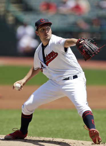 Cleveland Indians starting pitcher Trevor Bauer delivers in the first inning in a baseball game against the Kansas City Royals, Wednesday, June 26, 2019, in Cleveland. (AP Photo/Tony Dejak)