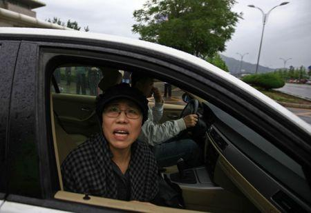 Liu Xia, wife of Nobel Peace Prize Laureate Liu Xiaobo,looks out of a car window after a trial outside a court in Beijing