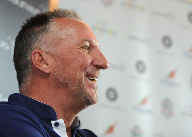 LONDON, ENGLAND - JUNE 12: Sir Ian Botham, Laureus Academy Member speaks to the media during the Sri Lanka Walk Launch on June 12, 2013 in London, England. (Photo by Getty Images for Laureus)