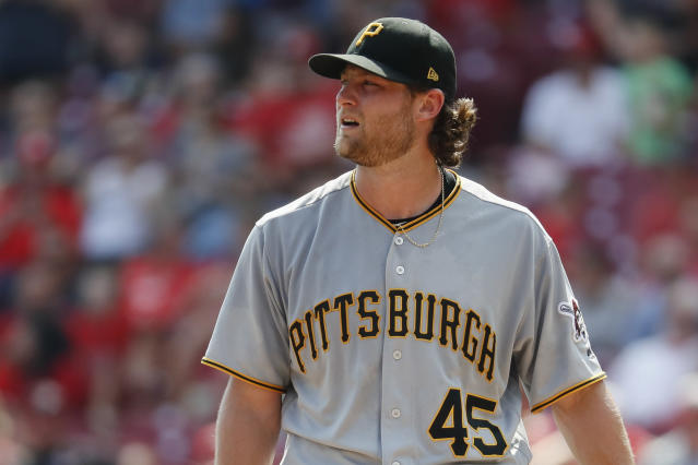 "Starting pitcher <a class=""link rapid-noclick-resp"" href=""/mlb/players/9121/"" data-ylk=""slk:Gerrit Cole"">Gerrit Cole</a> was traded Saturday to the <a class=""link rapid-noclick-resp"" href=""/mlb/teams/hou/"" data-ylk=""slk:Houston Astros"">Houston Astros</a>, sources tell Yahoo Sports. (AP)"