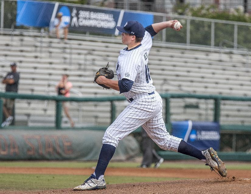 Auburn pitcher Dalton Rentz throws in the first inning against College of Charleston in a game at the Tallahassee Regional of the NCAA college baseball tournament in Tallahassee, Fla., Sunday, May 31, 2015. The game was delayed due to lightning after the first inning. (AP Photo/Mark Wallheiser)