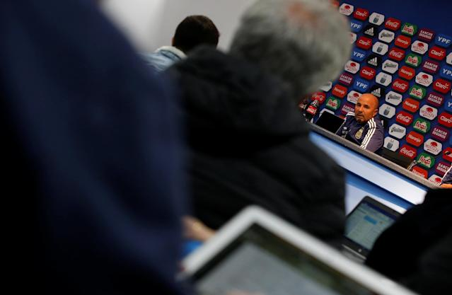 Soccer Football - Argentina Press Conference - Etihad Stadium, Manchester, Britain - March 22, 2018 General view of Argentina coach Jorge Sampaoli during the press conference Action Images via Reuters/Craig Brough