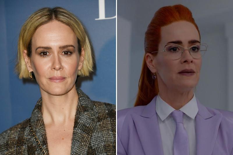 Sarah Paulson, the show's most frequent star, has rocked just about every hairstyle under the sun throughout her run (even getting to model two at one time for her conjoined twin role in Freak Show). While she usually plays more sympathetic characters, her red-headed transformation into a stern Wilhemina Venable for Apocalypse certainly stands out. Seriously, the eyebrows alone... Photos courtesy of Getty Images and IMDB.
