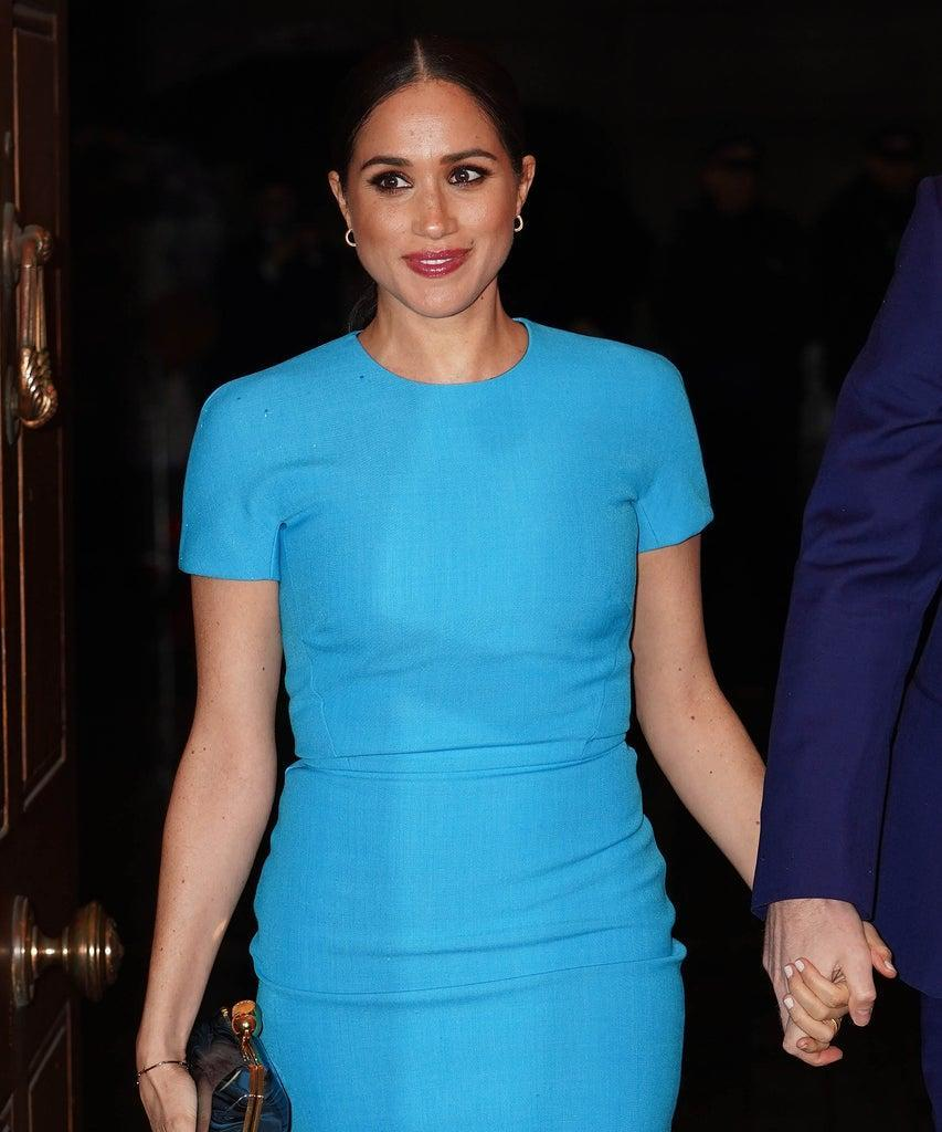 Britain's Meghan, Duchess of Sussex arrives to attend the Endeavour Fund Awards at Mansion House in London on March 5, 2020. – The Endeavour Fund helps servicemen and women have the opportunity to rediscover their self-belief and fighting spirit through physical challenges. (Photo by Paul Edwards / POOL / AFP) (Photo by PAUL EDWARDS/POOL/AFP via Getty Images)