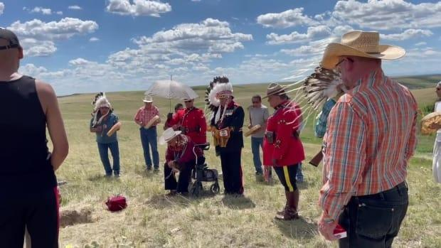 A ceremony was held on June 26 to bury a skull found decades earlier in the Old Man River west of Lethbridge. The skull was returned to the Kainai Nation after being determined to be  that of a male who was about 60 years or older and prehistoric, RCMP said. (RCMP - image credit)