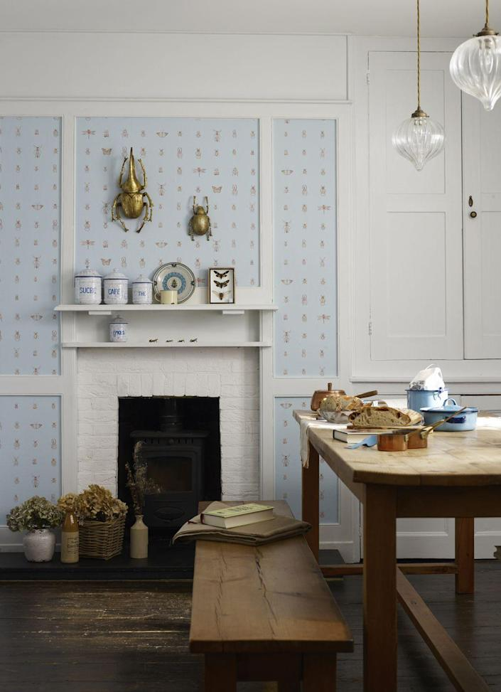 """<p>Panelling is an architectural gift in the home, and looks doubly effective when painted or wallpapered. This sky blue Cleo wallpaper by Elizabeth Ockford breaks up the uniform colour with tiny illustrations of bugs, beetles, dragonflies and butterflies. <br></p><p>Pictured: <a href=""""https://elizabethockford.com/wallpaper/cleo-sky-blue/"""" rel=""""nofollow noopener"""" target=""""_blank"""" data-ylk=""""slk:Cleo Wallpaper at Elizabeth Ockford"""" class=""""link rapid-noclick-resp"""">Cleo Wallpaper at Elizabeth Ockford</a></p>"""