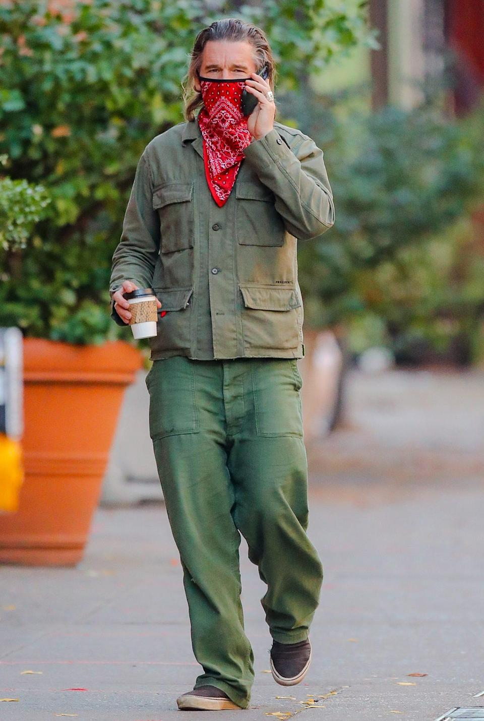 <p>Ethan Hawke is spotted out in N.Y.C. on Sunday, dressed in a military-style jacket with green pants and sneakers.</p>