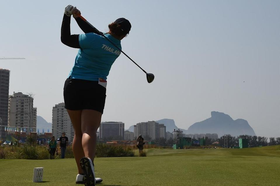 Thailand's Ariya Jutanugarn competes in the Women's individual stroke play at the Olympic Golf course during the Rio 2016 Olympic Games August 18, 2016 (AFP Photo/Jim Watson)