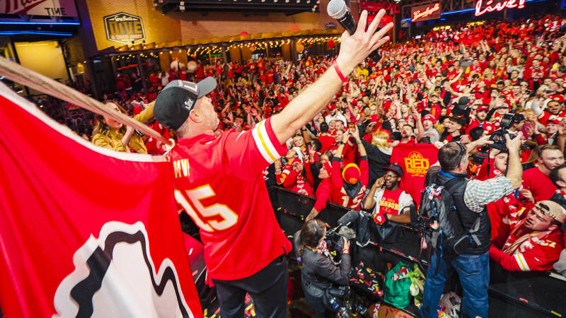 Kansas City Chiefs fans, pictured here celebrating at the Power and Light District.