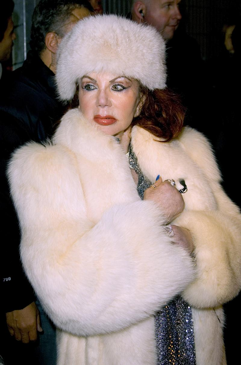 Jackie Stallone in a fur hat and coat