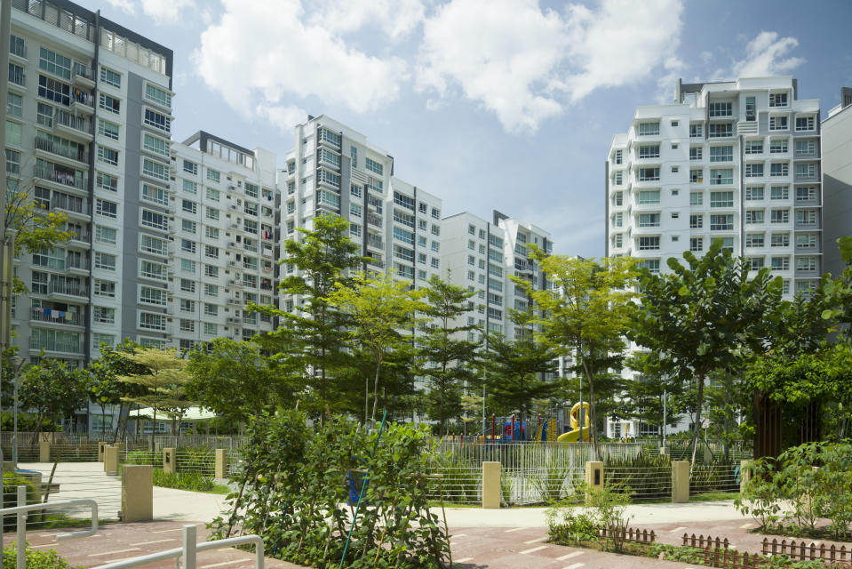 A roof top garden on a multi-story car park of new public housing apartments at Punggol New Town. Singapore.