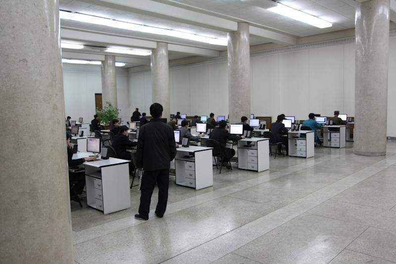 File photo shows students using computers at the Grand People's Study House near Kim Il-Sung Square in Pyongyang, capital of North Korea
