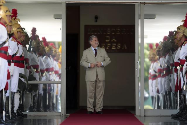 Brazil's Defense Minister Celso Amorim waits for the arrival of Russian Defense Minister Sergei Shoigu to a meeting in Brasilia October 16, 2013. REUTERS/Ueslei Marcelino (BRAZIL - Tags: POLITICS MILITARY)