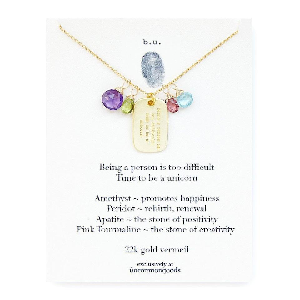 <p>The <span>Time To Be A Unicorn Necklace</span> ($58) is gorgeous and great for someone who loves crystals.</p>